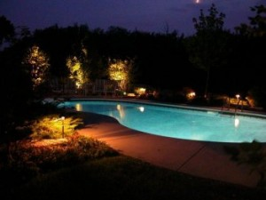 low voltage lighting services around a pool at night